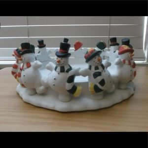 PARTYLITE SNOWMAN 3 WICK CANDLE HOLDER RETIRED